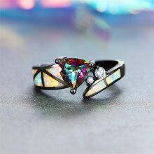 цена Charm Female Rainbow Colorful Triangle Ring Vintage Black Gold Wedding Rings For Women Promise White Fire Opal Engagement Ring онлайн в 2017 году