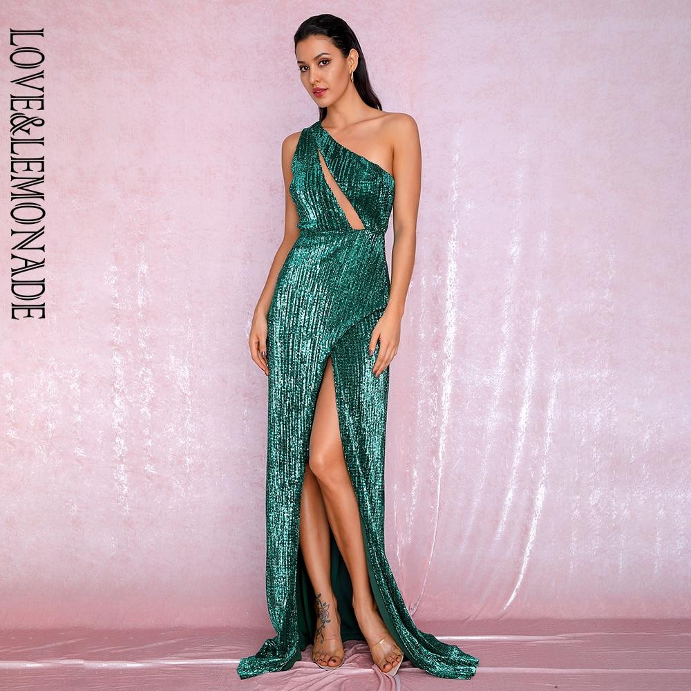 LOVE&LEMONADE Sexy One Shoulder Cut Out Green Cross Split Sequin Bodycon Maxi Dress LM81952 Autumn/Winter