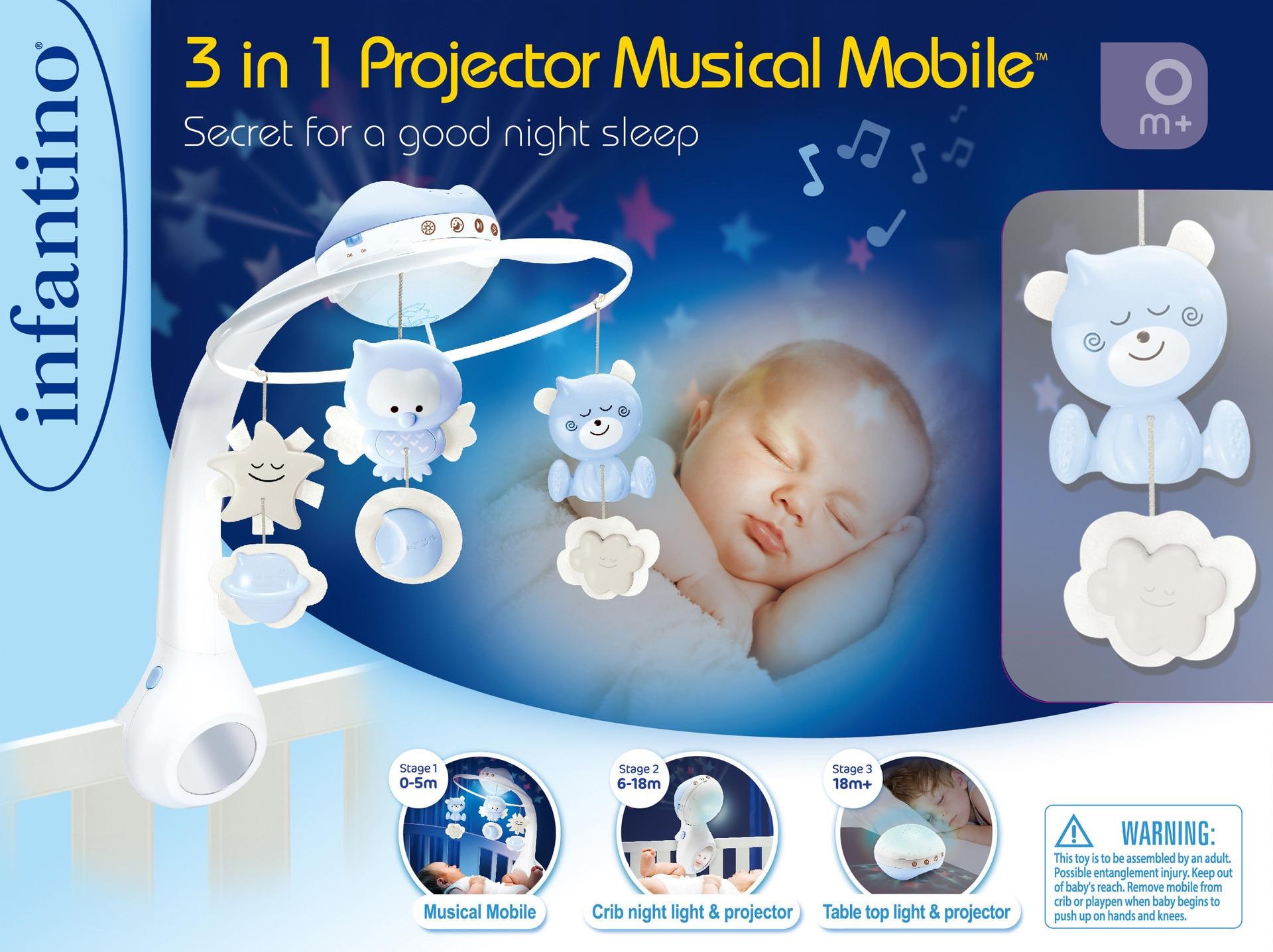 In America Infantino Infantile star Proiezione Tre in One Dreamy Letto Campana Carillon Campana Pacificare Lampada di Proiezione di Sonno - 3
