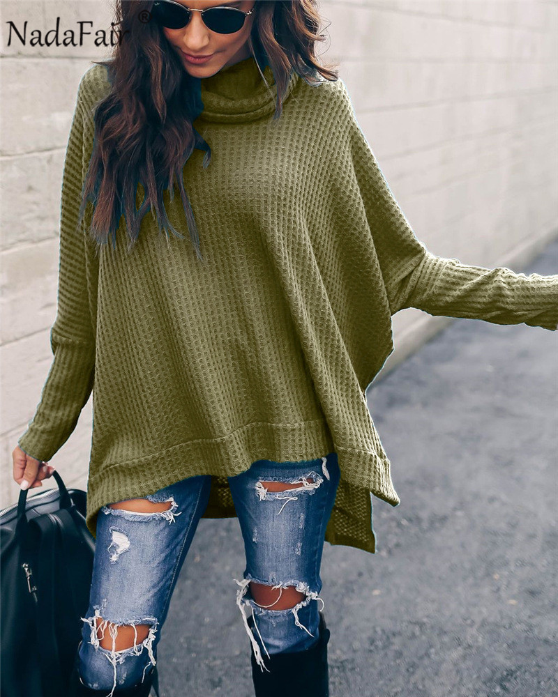Nadafair Turtleneck Knitted Winter Women Sweatshirts Pullover 2019 Autumn Split Cut Irregular Casual Oversized Hoodie Female