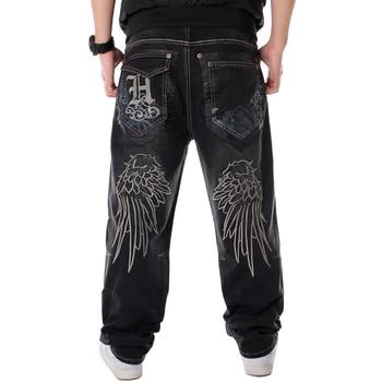 Men Street Dance Hiphop Jeans Fashion Embroidery Black Loose Board Denim Pants Overall Male Rap Hip Hop Jeans Plus Size 30-46 1