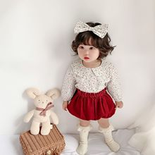 Shirt Blouses Baby-Girls And Floral Toddler Fashion with Hair-Band Spring Long-Sleeve