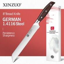 """XINZUO 8 """"inç ekmek bıçağı alman 1.4116 paslanmaz çelik kek bıçağı mutfak bıçakları yüksek kaliteli yemek araçları kırmızı sandal kolu"""