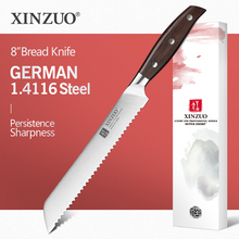 "XINZUO 8"" inch Bread Knife GERMAN 1.4116 Stainless Steel Cake Knife Kitchen Knives High Quality Cook Tools Red Sandalwood Handle"
