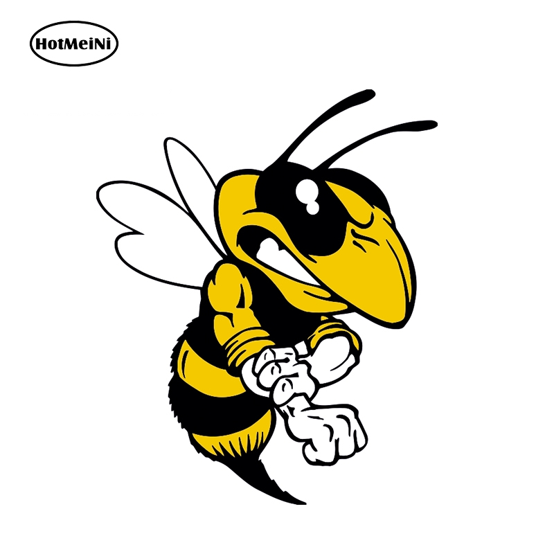 HotMeiNi 13cm X 10.7cm Cartoon Angry Bee Car Sticker Bumper Window Helmet Decal Waterproof Car Decoration Animal Graphic