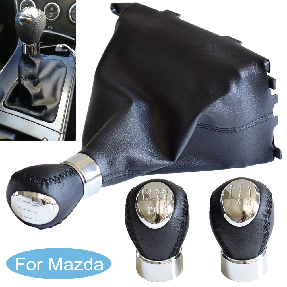 Car <font><b>5</b></font> 6 Speed Manual Gear Shift Knob Stick Lever Shifter With Leather Dust-Proof Cover For Mazda 6 2002 2003 <font><b>2004</b></font> 2005 2006 2007 image