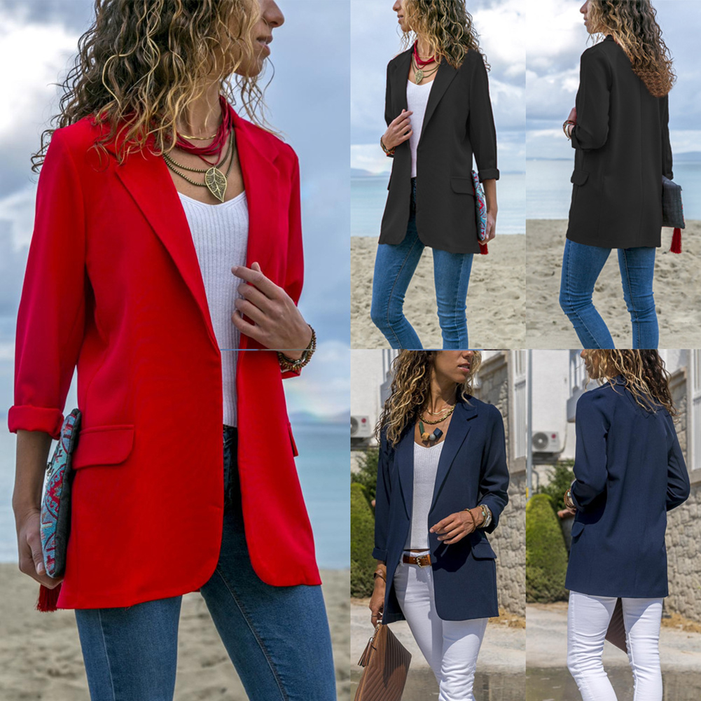 2019 Casual Women Slim Suit Blazer Jacket Coat Red Black Long Sleeve Blazer Business Office Ladies Outwear Autumn Slim Outwear