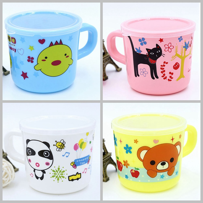 Cartoon Toddler Child Plastic Drinking Cups Kids Cup Printing Reusable Drinking Cup Handle