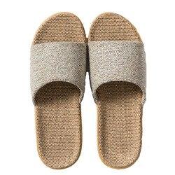 Suihyung 6 Farben Leinen Hausschuhe Für Frauen Männer 2021 Neue Alle Saison Indoor Schuhe Hause Flip-Flops Damen Lässig Dias flache Sandale