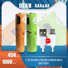 DEAH AA/AAA 1,2 V Ni-Mh USB Akku 450mAh AAA Bateria + 1000mAh AA Zelle Mit micro-USB Ladekabel für Kamera Spielzeug