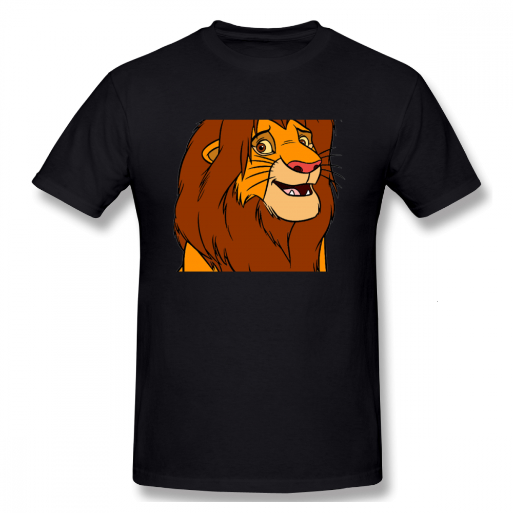 Draw Lion King Print Casual Mens O-neck Harajuku T Shirts And Fashion Men's Basic Short Sleeve T-Shirt