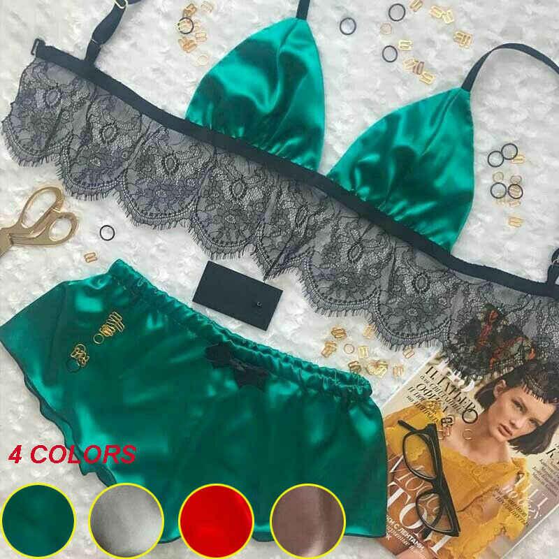 4 Warna Wanita Renda Bunga Dua Sepotong Seksi Pakaian Dalam Set Wanita Musim Panas Satin Sutra Bra Bustier Babydoll Baju Tidur Setelan