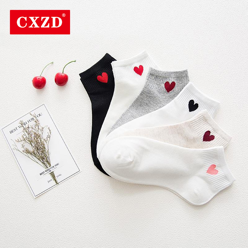 CXZD New Kawaii Cute Socks Women Red Heart Pattern Soft Breathable Cotton Socks Ankle-High Casual Comfy Socks Fashion Style