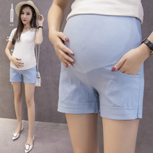 Summer Cotton Maternity Belly Short Pants Pregnant Women Shorts Pregnancy Short Trousers Adjustable Belly Clothes Korean Style cheap Wheat turtle Polyester CN(Origin) Solid Natural Color Regular YK071 Broadcloth Elastic Waist Casual Maternity Shorts Hot-Pants For Pregnant Women