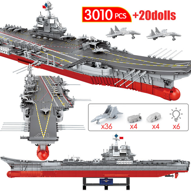3010PCS WW2 Military Navy Aircraft Carriers Building Blocks For Warship Cruiser City Police Figures Bricks Toys for Boys