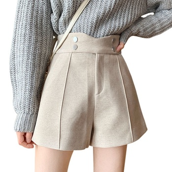 Women Woolen Shorts New Korean Version Of High-waisted Thin Woolen Cloth Wide-leg Boots Pants Trousers image