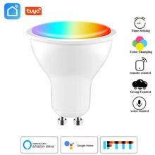 Tuya wifi gu10 inteligente lâmpada led spotlight 4w rgb + cw lâmpada vida inteligente app magia bulbo controle de voz trabalho com alexa google casa
