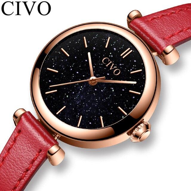 CIVO นาฬิกาผู้หญิง Montre Femme 2019 แบรนด์นาฬิกาข้อมือควอตซ์นาฬิกาสุภาพสตรีนาฬิกาสุดหรูสายหนังสีแดงนาฬิกากันน้ำ 8104
