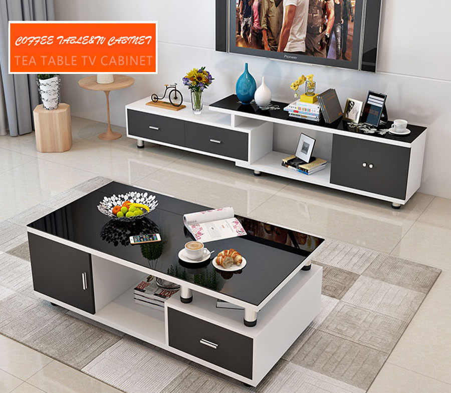 ensemble table basse et table tv au design moderne meuble tv et table de the couleur blanche