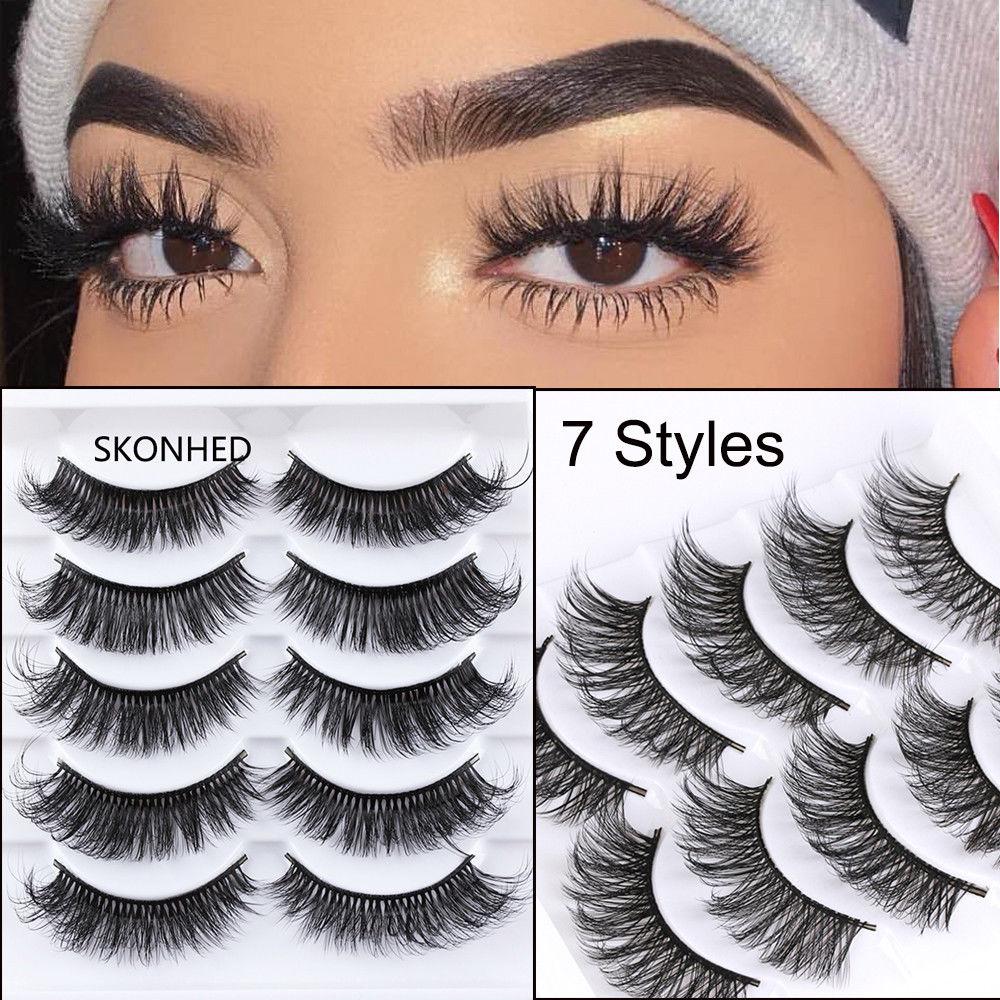 5 Pairs Handmade Eyelashes 3D Soft Mink Hair False Lashes Natural Long Wispy Makeup Fake Eye Lashes Extension Tools Supplies