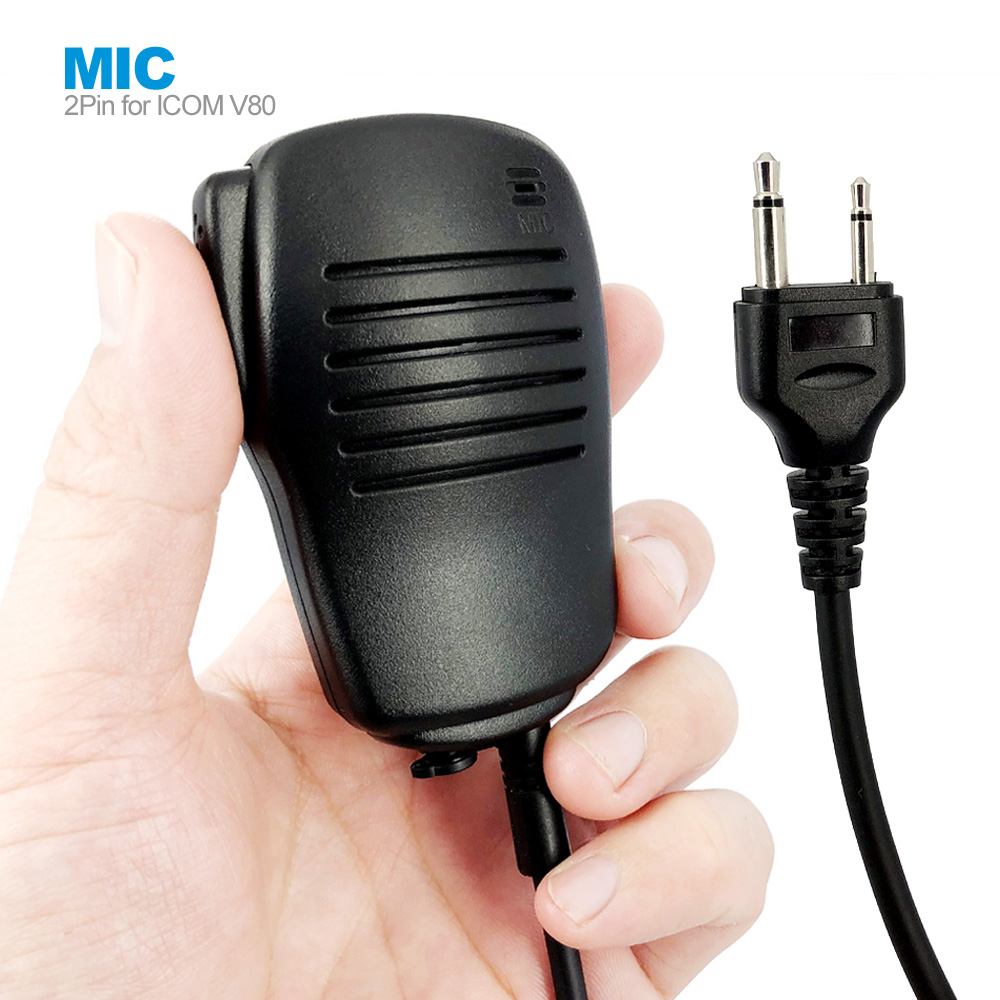 2Pin PTT Speaker Mic Microphone For ICOM IC-V8 IC-V82 IC-F3 SL25 V80 Cobra Vertex VX-200 Walkie Talkie Two Way Radio