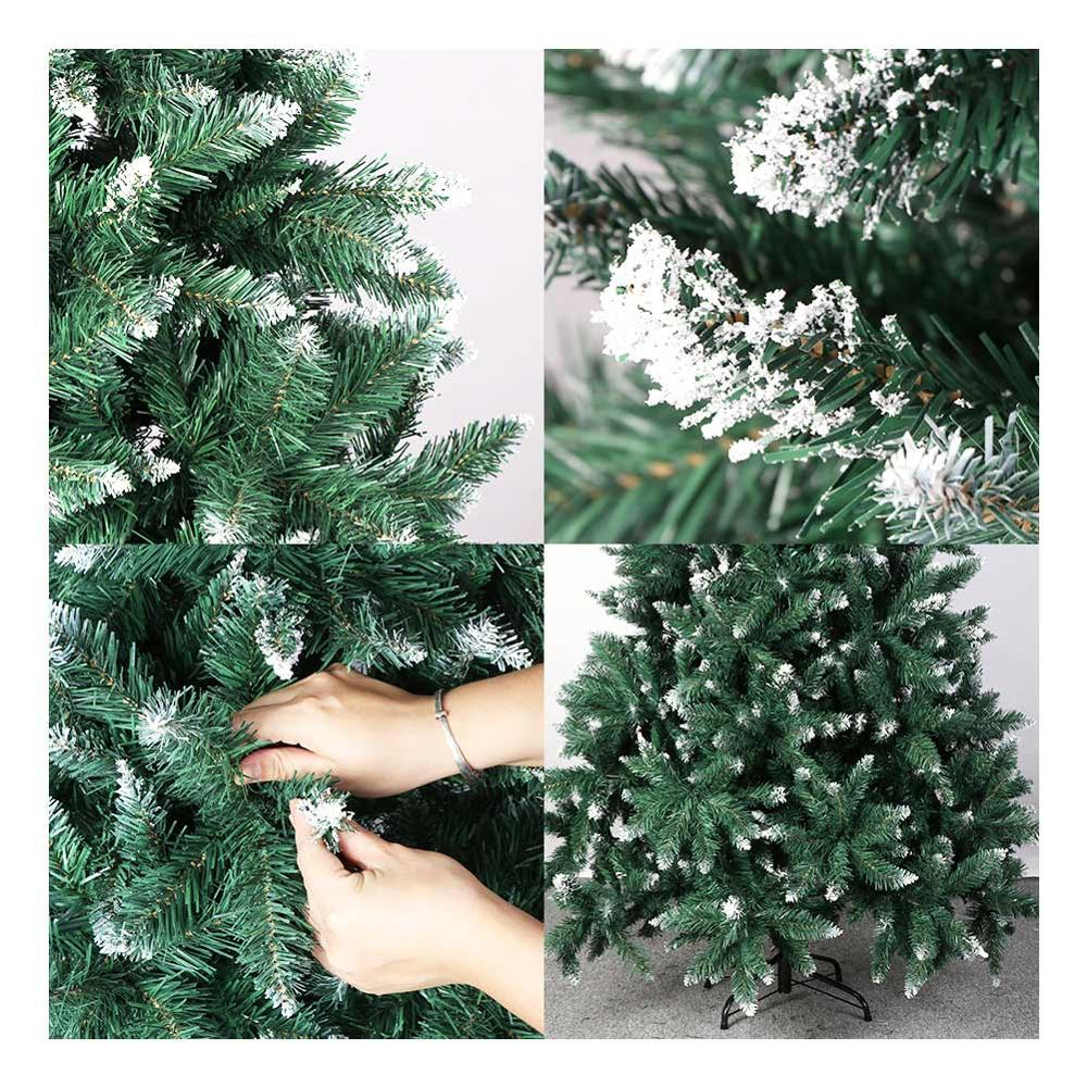 Image 3 - OurWarm 6ft Fake Artificial Flocked Christmas Tree with Snow Strong Metal Stand Christmas Decorations for Home Fire PreventionTrees   -