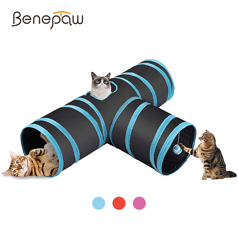 Benepaw Collapsible 3-Way Cat Tunnel Tube With Peek Hole Tear-resistant Safe Interactive Toys For Cats Kitten Easy To Store image