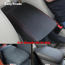 Car Styling Microfiber Leather Interior Central Armrest Panel Cover Case Trim For Honda Civic 8th Accessories