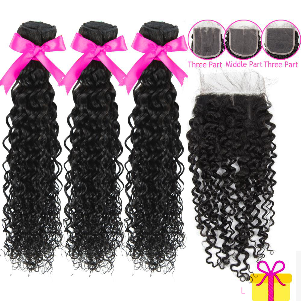 Brazilian Hair Remy Water Wave Bundle With Closure 4x4 Deal Top Human Hair Topper PrePlucked With Baby Hair Extentions Low Ratio