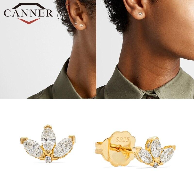 CANNER Crystal Zircon Real 925 Sterling Silver Earrings Cubic Zirconia Silver Stud Earrings For Women Sterling Silver Jewelry