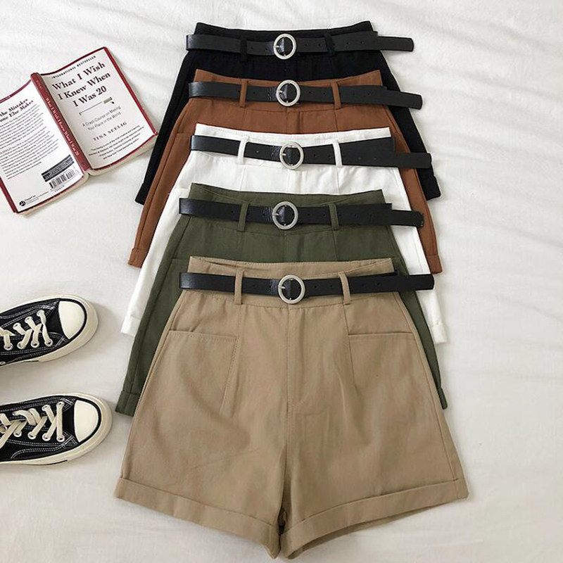 SEDUTMO Summer Cargo Shorts Women Pocket Slim Casual High Waist Trousers Vintage Office Short Basic Shorts With Belt