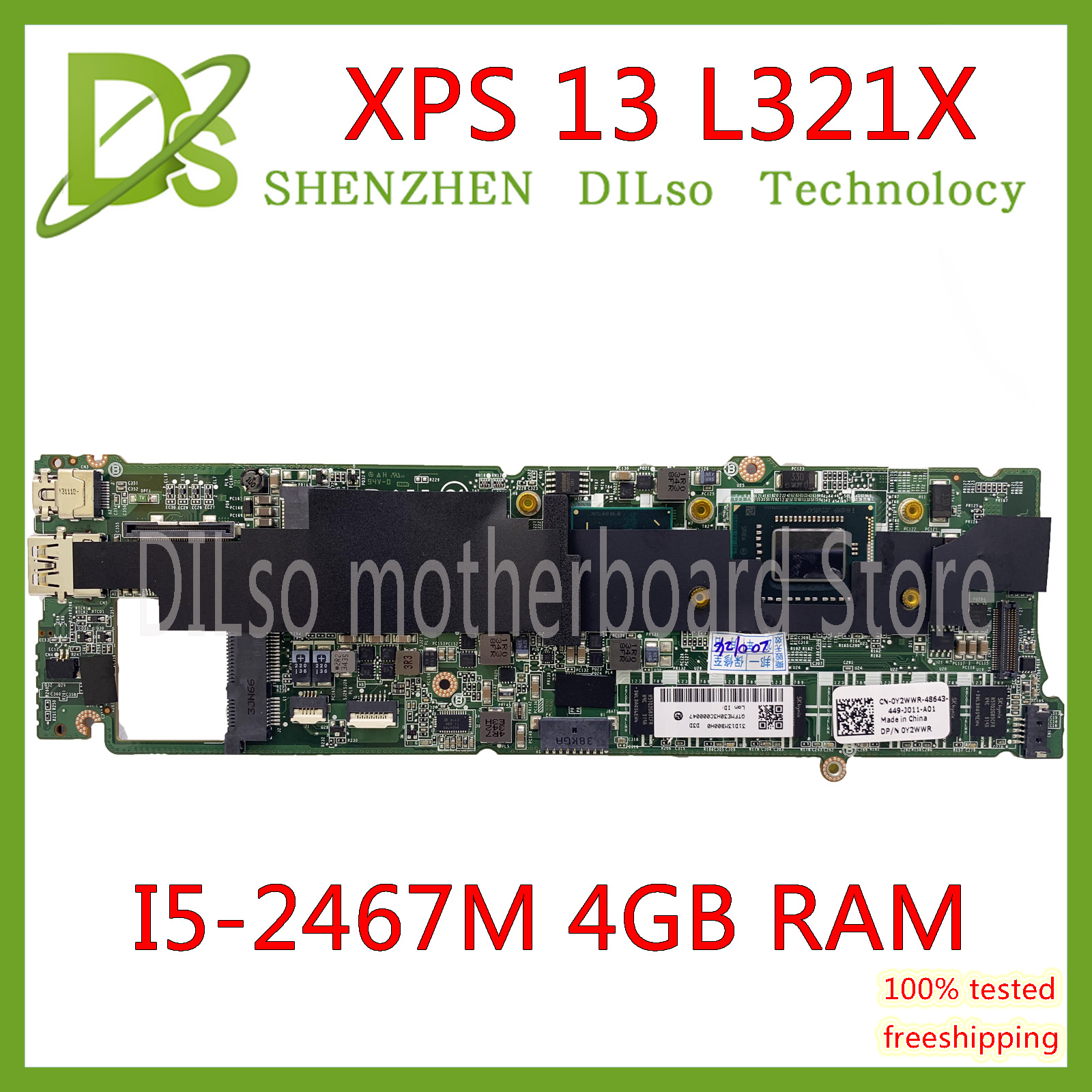 KEFU L321X Motherboard FOR Dell XPS 13 L321X Laptop Motherboard I5-2467M 4G DDR3L DA0D13MBCD1 Fully Tested 100% Work