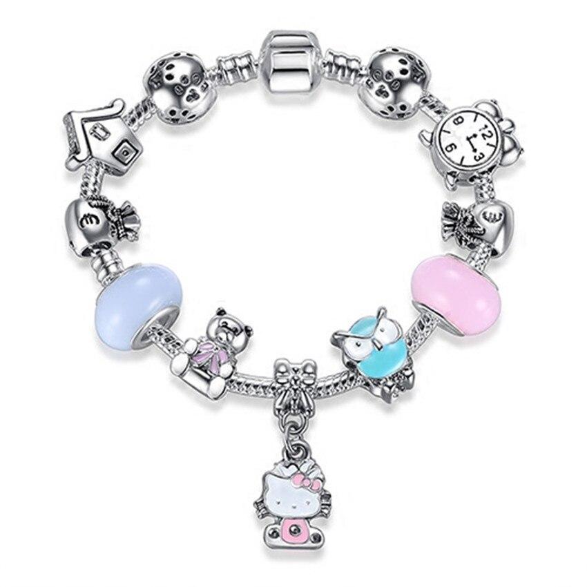Fashion New panjia style  Charm Bracelet Pink Kitty Bracelet Female DIY Alloy Dripping Owlbear Handmade Jewelry Bracelet