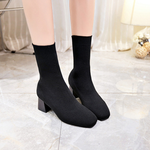 Image 5 - Women Boots Sock Knitting Winter 2019 Fashion High Heel Shoes Ladies Sock Boots Square Heels Stretch Fabric Woman Ankle Booties