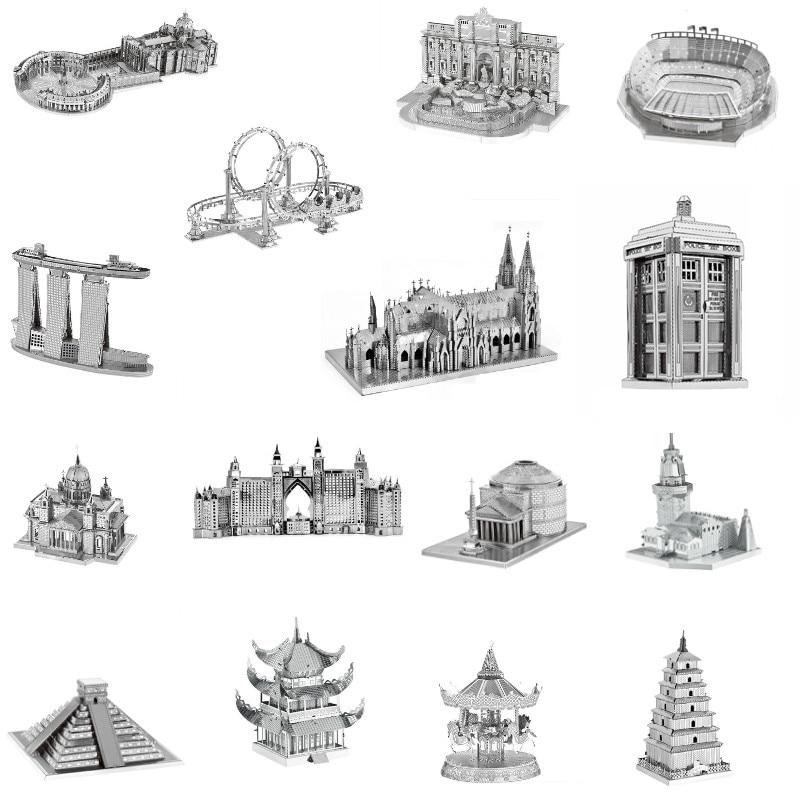 Архитектура 3D металлические Пазлы здание Эйфелева Башня Биг-Бен головоломки Строительство ручной работы Обучающие фигурки ручной работы подарок игрушки
