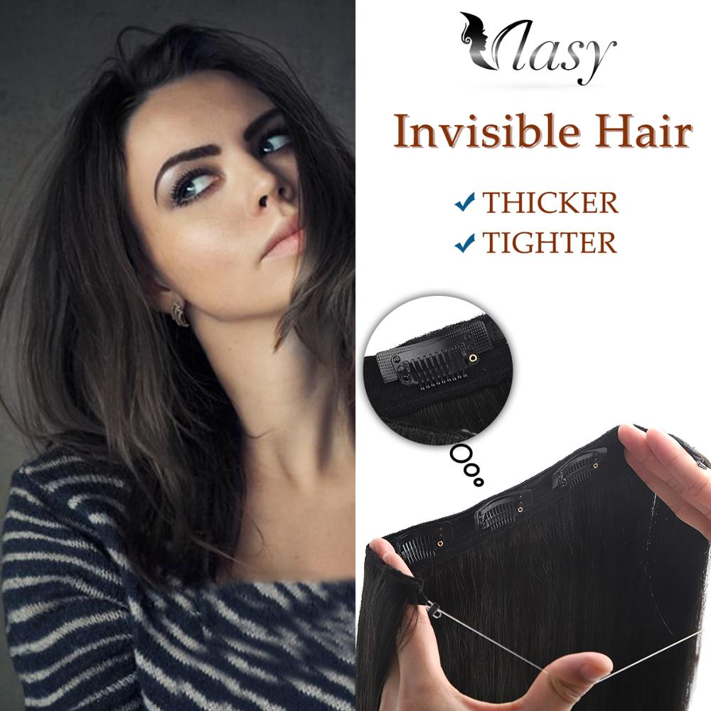 Vlasy 20'' Remy Halo Clip In Hair Invisible Wire Flip In Human Hair Extensions Straight Double Drawn 3 Clips On Hair 100g/pc