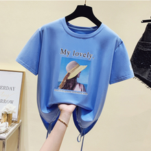 2021 Newest Summer Fashion Korean Women Pullovers Short Sleeve T Shirt Clothes Students Print Letters Loose Cotton Tops Mujer XL