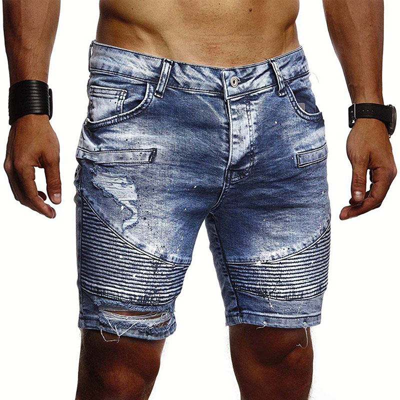 Denim Shorts Men's Fashion Denim Pleated Shorts Large Size S-3XL Men's Summer Personality Lacquer Point Casual Slim Denim Shorts