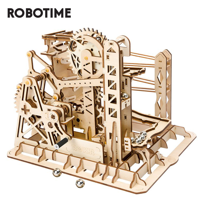 Robotime DIY Marble Run Game 3D Wooden Puzzle Gear Drive Lift Coaster Model Building Kit Toys For Children Adult LG503