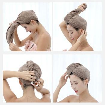 נשים רחצה סופר סופג ייבוש מהיר עבה מיקרופייבר אמבט מגבת שיער יבש כובע סלון מגבת מהיר ייבוש שיער מגבת 1