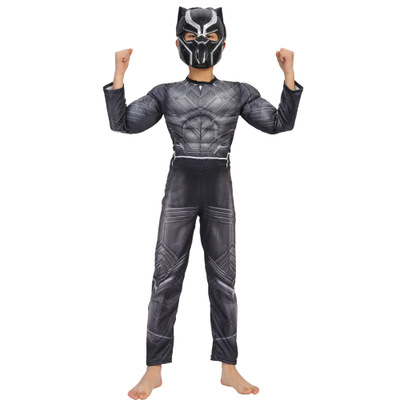 Kids Muscle Black Panther Costumes Avengers Superhero Cosplay Costume Halloween Purim Carnival Party Masquerade Costume