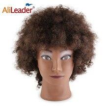 Alileader eğitim kafa salonu Afro manken kafa 100% İnsan saç kukla bebek kuaförlük eğitim kafaları gerçek saç manken kafa