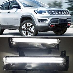 Image 5 - Auto Blinkende 1 Paar Auto LED DRL Für Jeep Kompass 2017 2018 2019 tagfahrlicht Mit gelben blinker licht