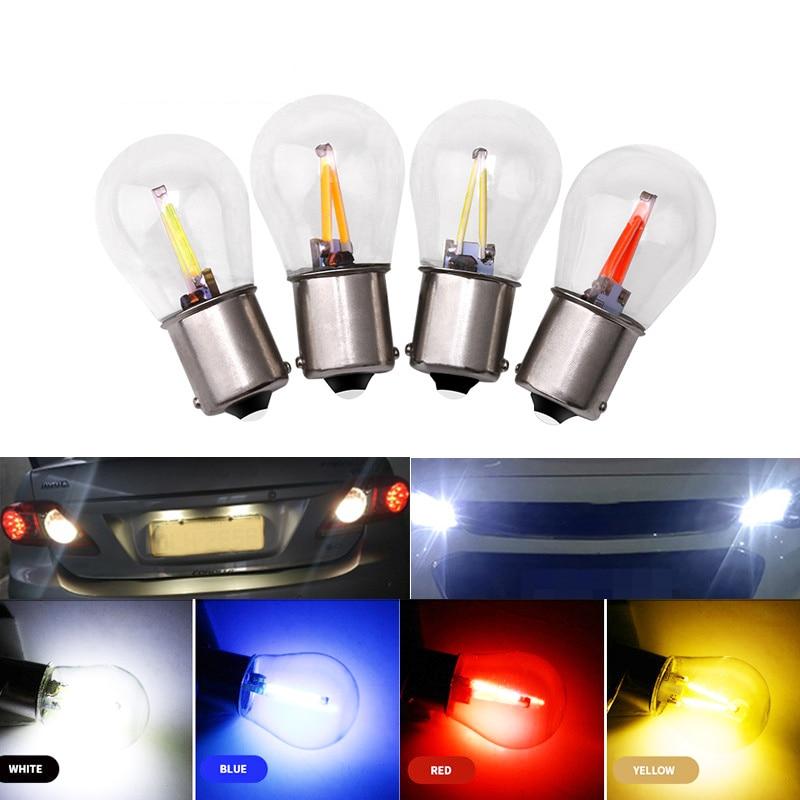 1 стеклянный корпус 1156 ba15s p21w 1157 BAY15D P21/5W COB светильник Светодиодная лампа заднего хода Canbus указатель поворота резервный красный светодиодный...