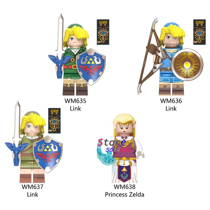 Single Building Blocks Cartoon Link Game Shield Sword Archer Sonic Toys For Children Action Figures