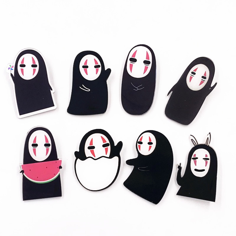 1PCS New Design Spirited Away Anime Character Icon Brooch Pin No Face Man Acrylic Badge For Children Birthday Party Gifts