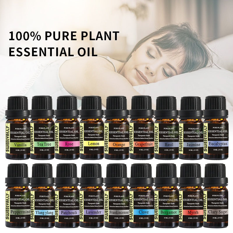 Sweetvally 10ml 18 Flavours Essential Oils Pure Plant Relieve Stress Air Freshening Essential Oils Therapeutic Grade Aroma Oil