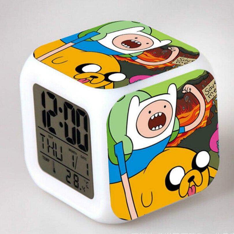 Venda quente 7 cores flash mudando brinquedos crianças despertador dos desenhos animados reloj digital led colorido quarto luz da noite relógios