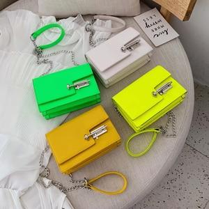 Image 4 - Womens Handbag Simple Chain Crossbody Bags For Women 2020 New Pu Leather Yellow Green Fashion Young Woman Evening Shoulder Bag