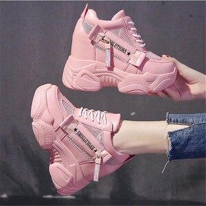 Женские кроссовки в стиле Харадзюку, на танкетке, спортивная обувь, увеличивающая рост, 11 см, Повседневные Дышащие сетчатые кроссовки для же...